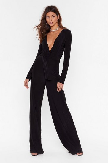 Black Belted Jumpsuit with Plunging V-Neckline