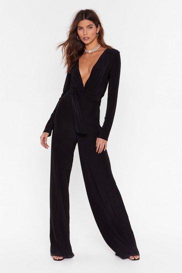 Black Belted Jumpsuit with Plunging V-Neckline