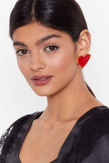 Red Big Heart Oversized Earrings