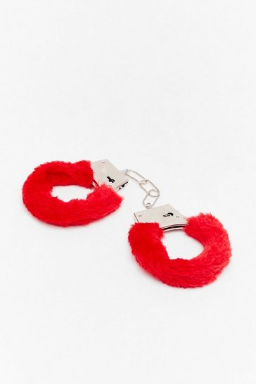 Red Faux Fur Handcuffs