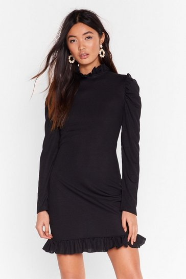 Black License to Frill Ribbed Mini Dress