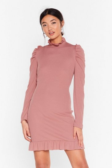 Rose License to Frill Ribbed Mini Dress