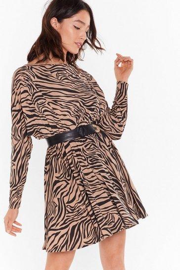 Beige Herd There's a Party Zebra Mini Dress