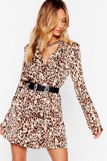 Caramel Oooh She's Feisty Animal Blazer Dress