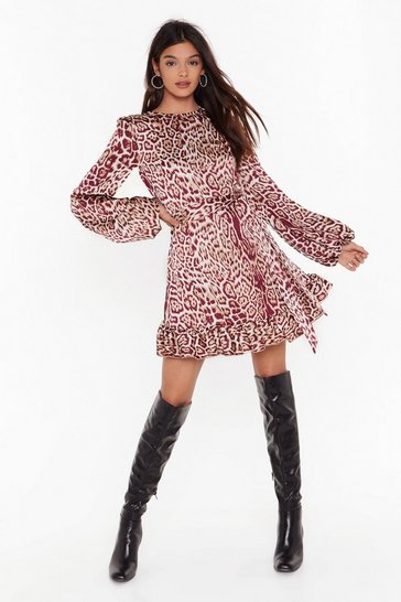 Cream Purr-sonal Space Satin Animal Dress