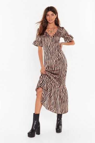 Caramel Dazzle Me Zebra Midi Dress
