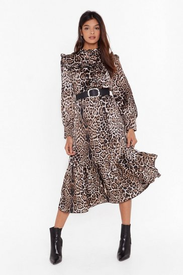 Brown It's Your Prowl Satin Leopard Midi Dress