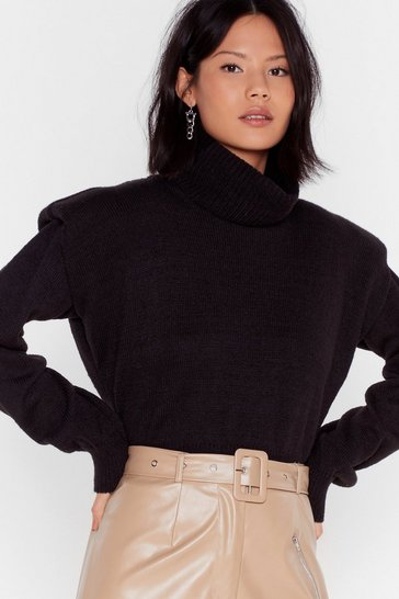 Black Shoulder to Shoulder Pad Turtleneck Sweater