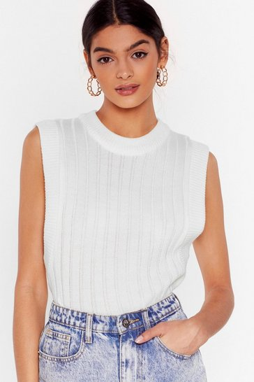 White This is Knit Ribbed Tank Top