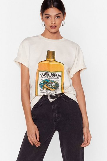 Womens Natural Janis Joplin Bottle Tee