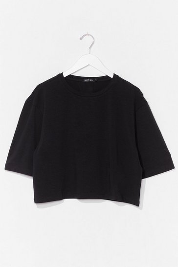 Black Nice 'N' Easy Oversized Cropped Tee