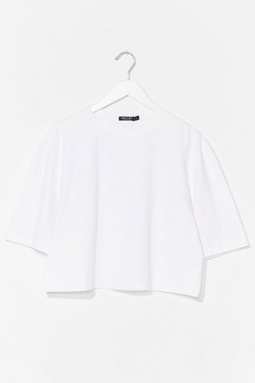 White Nice 'N' Easy Oversized Cropped Tee