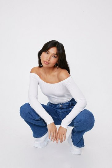 White Your Better Off-the-Shoulder High-Leg Bodysuit