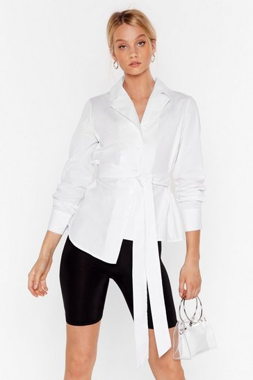 White Asymmetric Tie Shirt with Blouson Sleeves