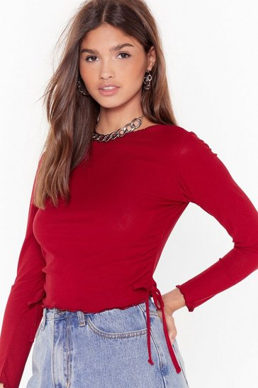 Berry They Frill Never Know Cropped Top