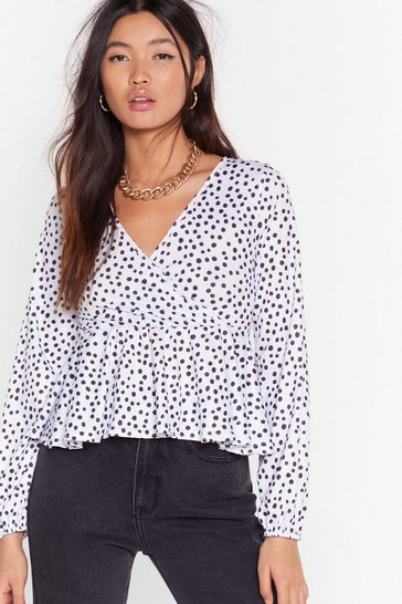 White Sorry Dot Going Cropped Wrap Top