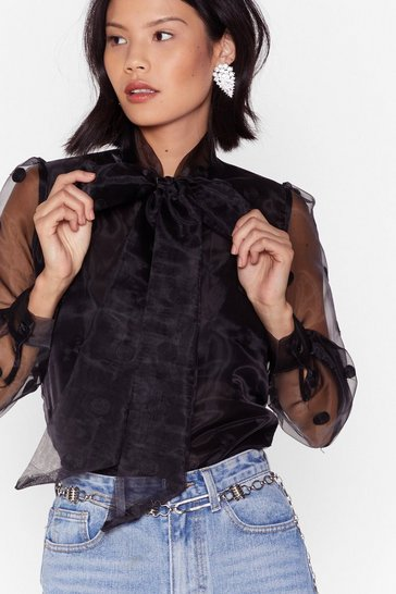 Black This is Dot Goodbye Organza Pussybow Blouse
