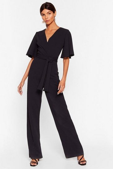 Womens Black Shut Up and Dance Plunging Wide-Leg Jumpsuit