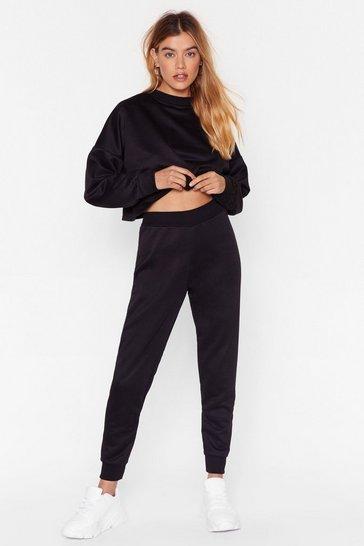 Black You Better Run Cropped Sweatshirt and Jogger Set