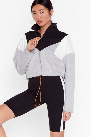 Grey Walk the Color Block Zip Cropped Sweatshirt