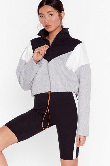 Grey Walk the Color Block Zip Cropped Sweatshirt