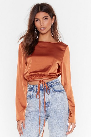 Rust Tie Not Tonight Satin Cropped Blouse