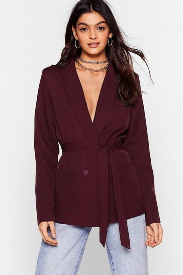 Chocolate Belt Foot Forward Relaxed Belted Blazer