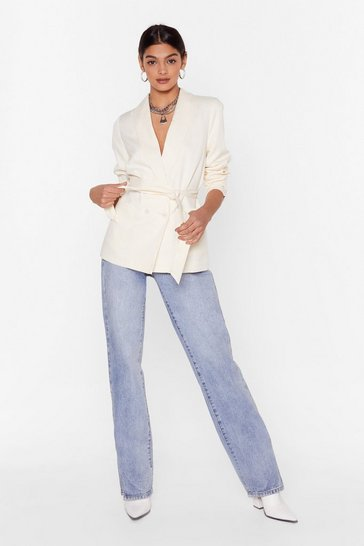 Cream Belt Foot Forward Double Breasted Blazer