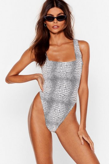 Stone Love Her Wild Reptile High-Leg Swimsuit