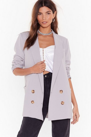 Mushroom Oversized Double Breasted Blazer