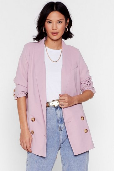 Womens Rose Think It Oversized Double Breasted Blazer