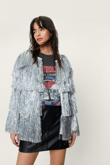 Silver Metallic Tiered Fringe Jacket
