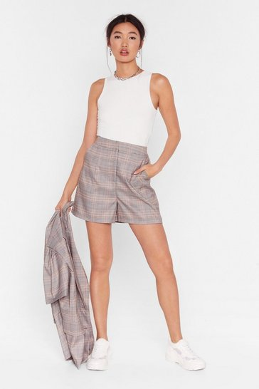 Grey Check It Over High-Waisted Shorts