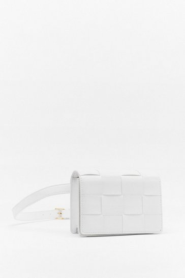 White WANT The Woven One Faux Leather Fanny Pack