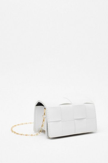 White WANT The Woven One Faux Leather Crossbody Bag