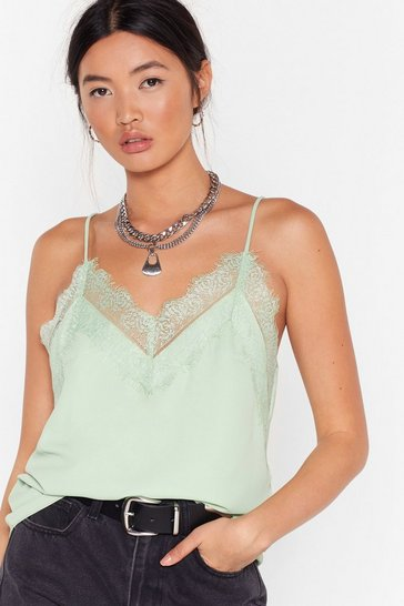 Womens Mint Lace The Consequences Cami Top