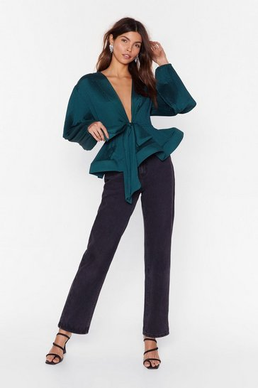Teal Pleat Don't Call Plunging Tie Blouse