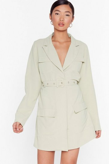 Green Pocket Off Belted Blazer Dress