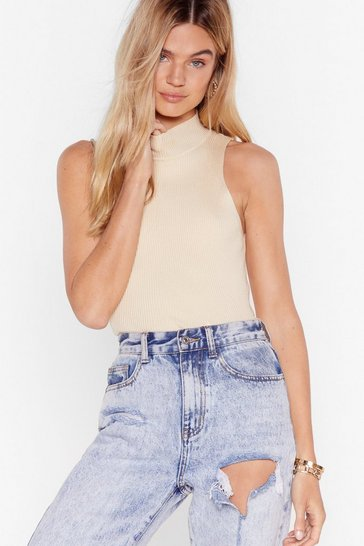 Ecru Sleeveless High Neck Knit Top