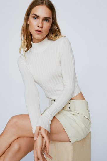 Oatmeal Just Thought We'd Say High Neck Ribbed Sweater
