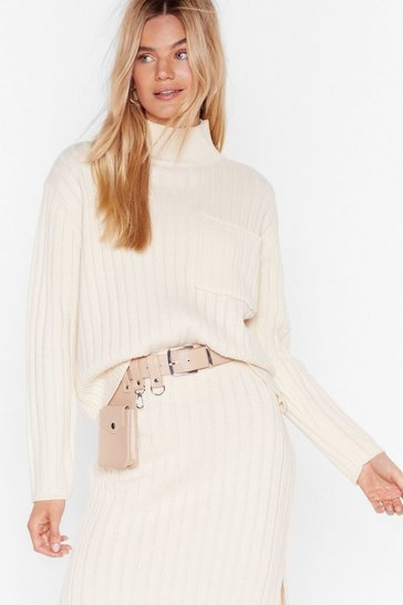 Cream Knit the Town Ribbed Turtleneck Sweater