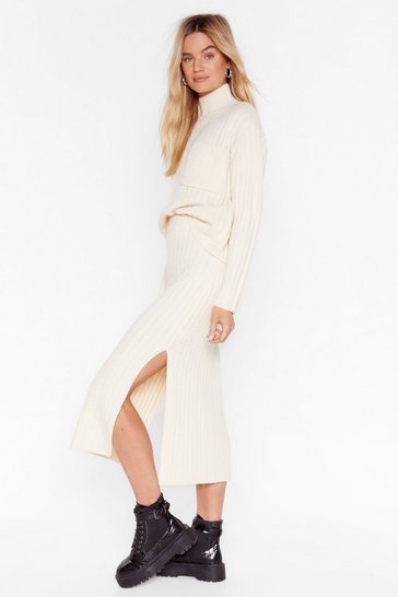 Cream Knit the Town Ribbed Midi Skirt