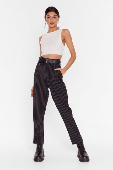 Black Pinstripe Up Your Life High-Waisted Pants