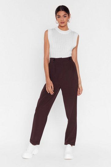 Chocolate Button It Please High-Waisted Tapered Pants