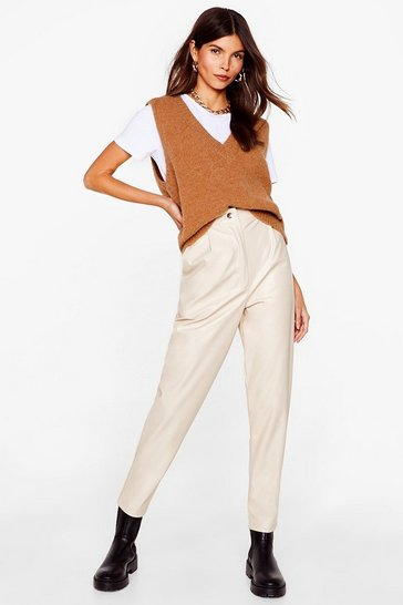 Ecru Slit Me Up High-Waisted Faux Leather Pants