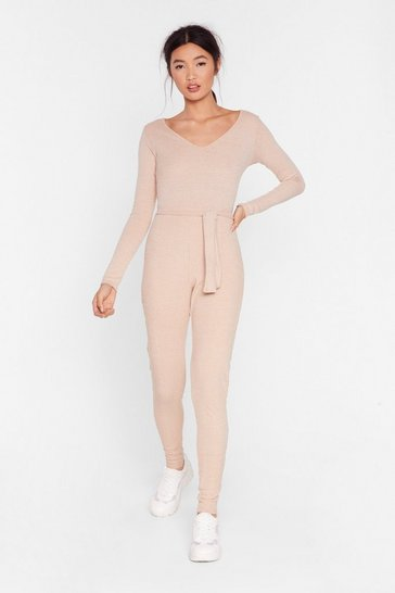 Sand Feeling V Chilled Ribbed Belted Jumpsuit