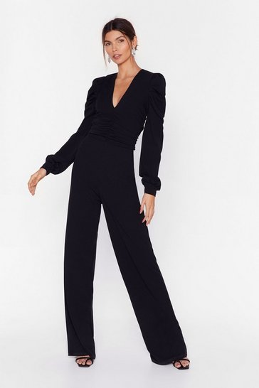 Womens Black Ruche to the Bar Wide-Leg Puff Sleeve Jumpsuit