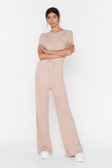 Sand short sleeve wide leg rib jumpsuit