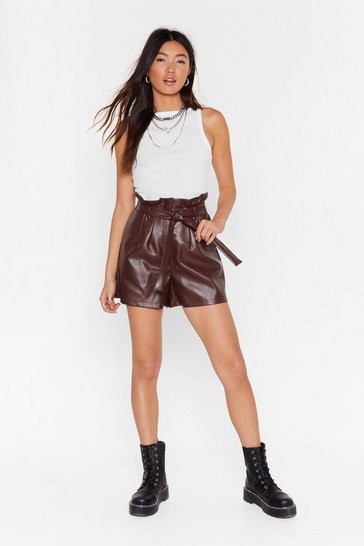 Chocolate Faux Leather Paperbag Shorts with Tie Belt