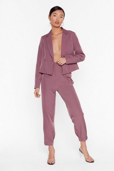 Mauve So Bossy Tailored Tapered Pants